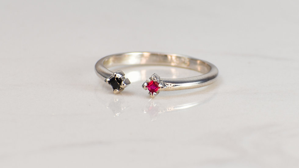 Double Princess Ring - Black Spinel/Ruby in Sterling Silver