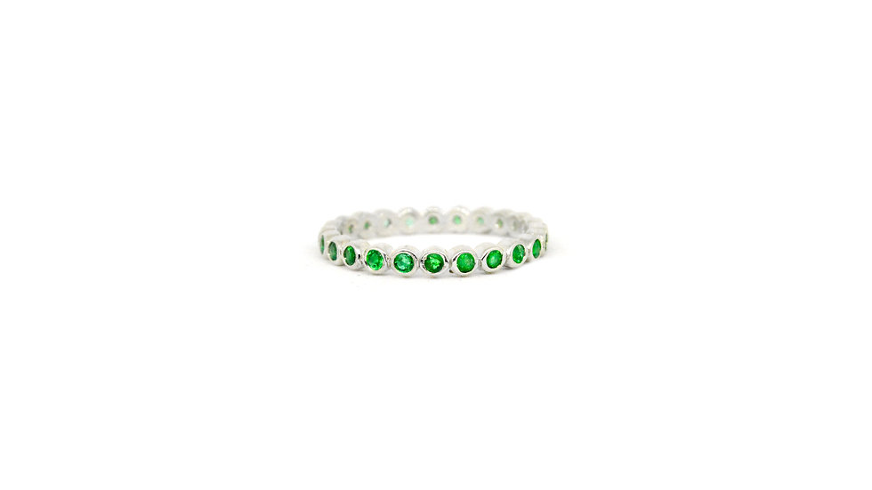 Amber Gemstone Band - Emerald/Sterling