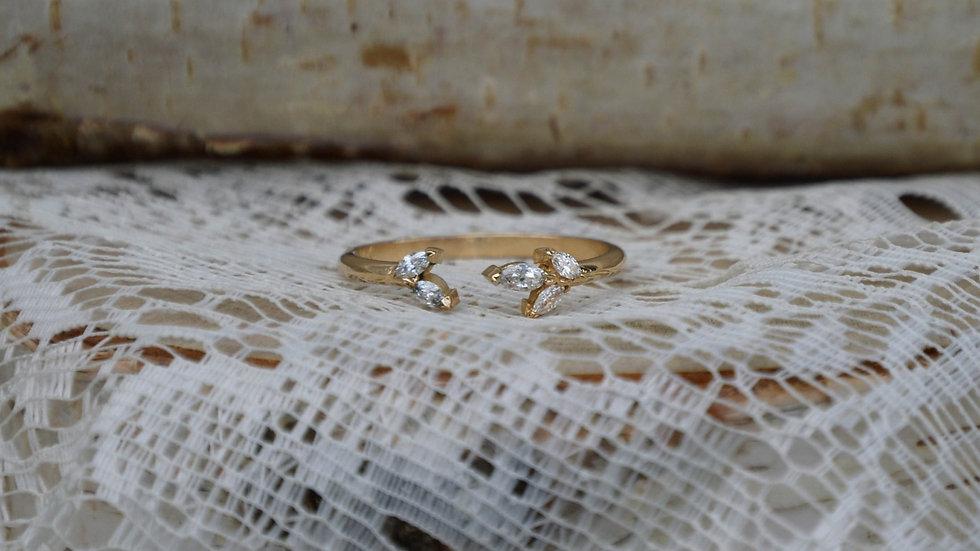 Aurora split Ring - 14k yellow gold/diamonds