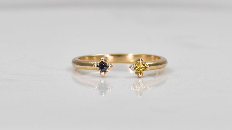 Double Princess Ring - Yellow Sapphire/Black Spinel in 14k yellow gold