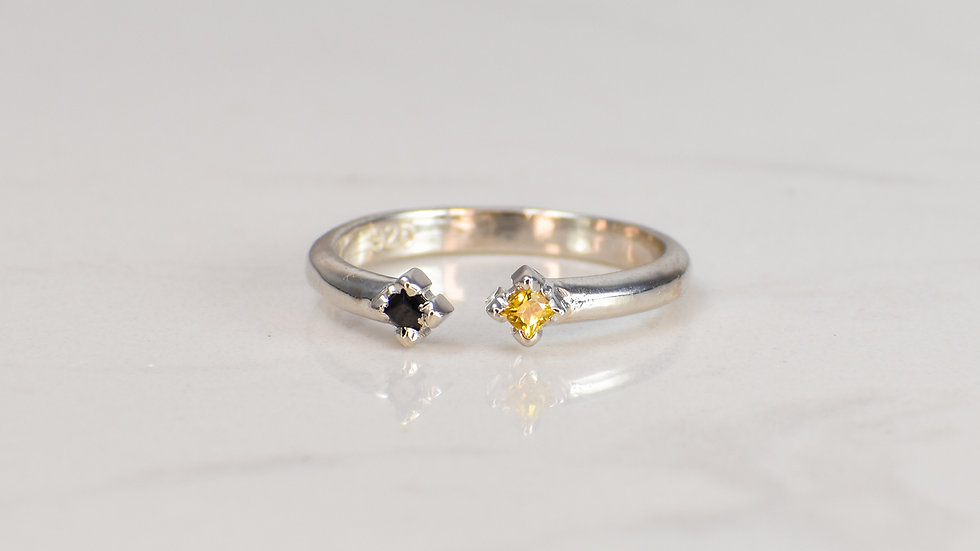 Double Princess Ring - Yellow Sapphire/Black Spinel in Sterling Silver