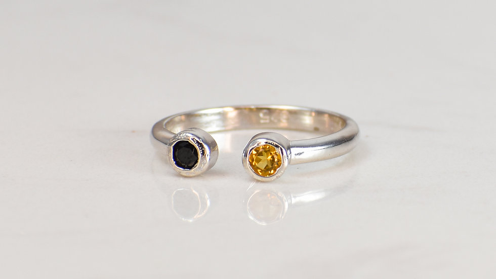 Fan Ring - Black Spinel/Citrine in Sterling