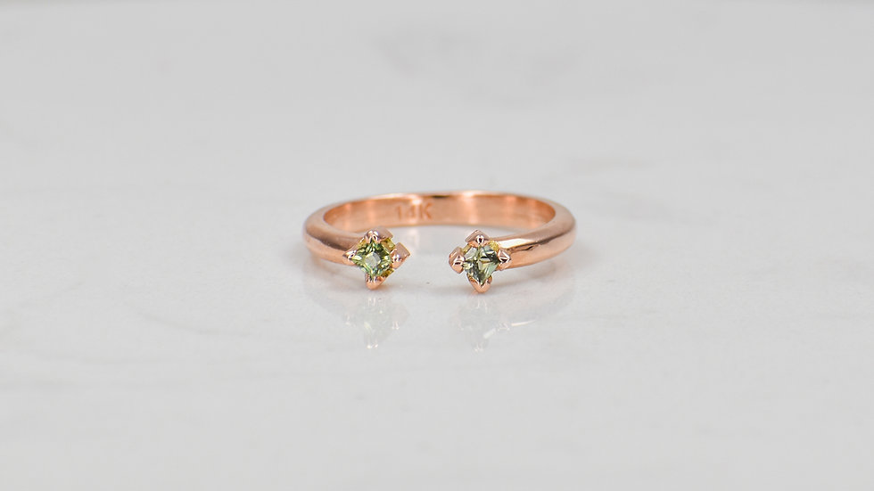 Double Princess Ring - Green Sapphires in 14k yellow gold