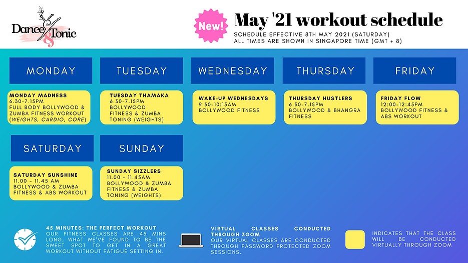D&T - Virtual Workout Schedule - 15TH Ap