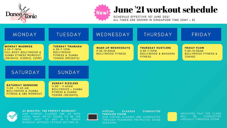 D&T - Virtual Workout Schedule - 15TH Ap
