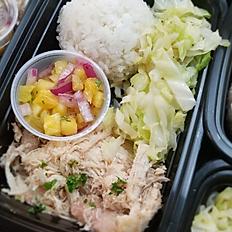 Kalua Chicken, Cabbage, Rice & Pineapple Salsa