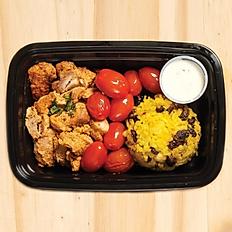 Chicken Shawarma, Indian Rice, Roasted Tomatoes & Housemade Tzatziki Sauce