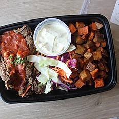 Dry Rub BBQ Beef, Smokey Sweet Potatoes & Slaw