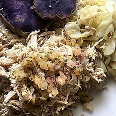 Kalua Chicken, Cabbage, Sweet Potato & Pineapple Salsa