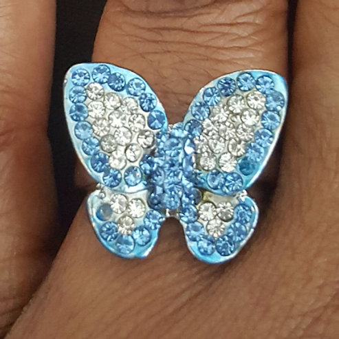 Blue Butterfly  Ring 22mm