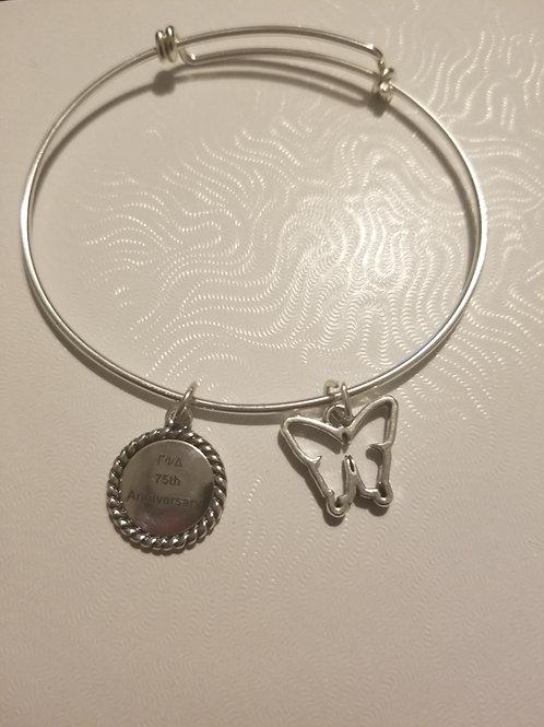 75th Anniversary Sterling Silver Bangle Bracelet