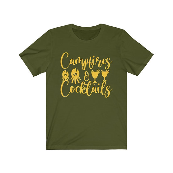 Campfires and Cocktails Unisex Jersey Short Sleeve Tee