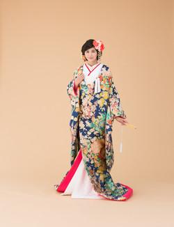 春秋牡丹紋 紺 (1)