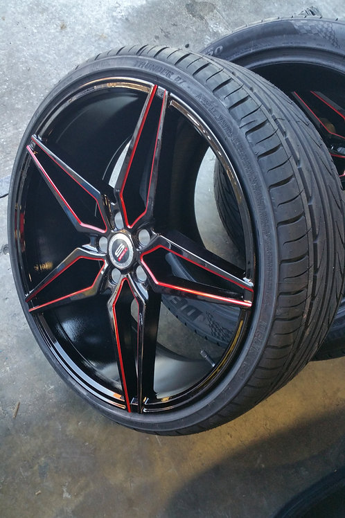 """King"" Shot 22"" Wide Tire Package 2 (Red/Black)"