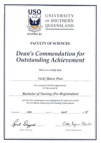 Dean's Commendation for Outstanding Achievement