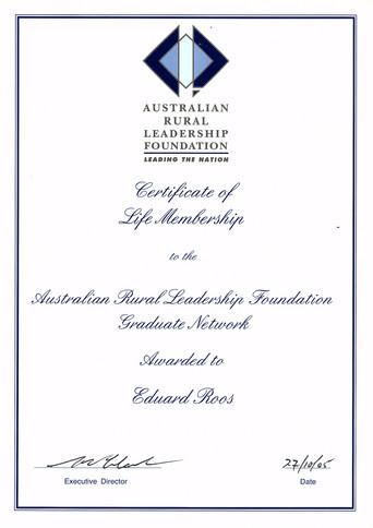 Dr Eddie Roos Australian Rural Leadership