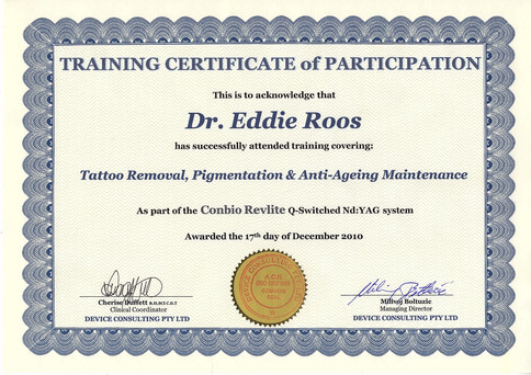 Tattoo removal, pigmentation and anti-ageing certified