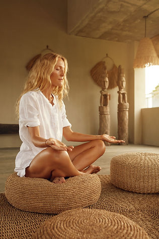 Meditation. Meditating For Relaxation And Mental Balance. Home Yoga Practicing For Healthy