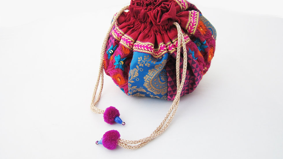 Round Blue and Purple Phulkari embroidered potli