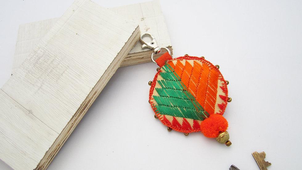 Orange and Green Keychain