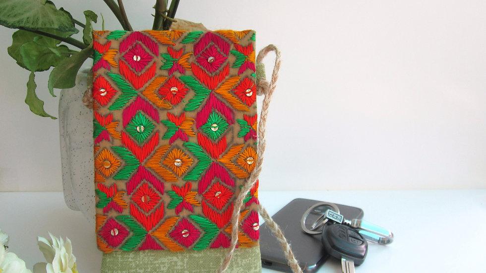 Green Phulkari embroidered Mobile sling