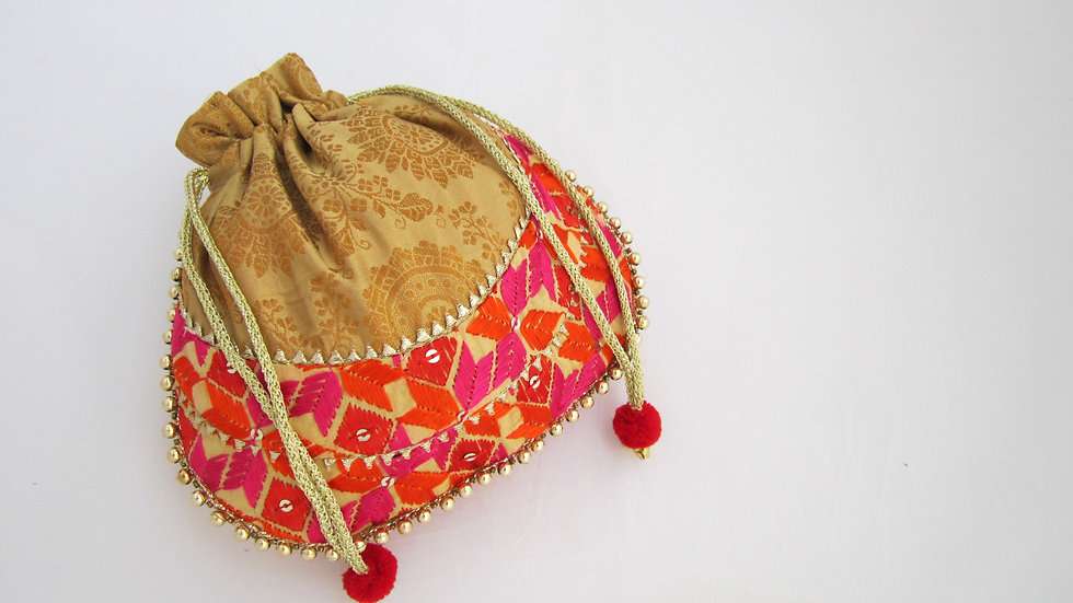 Gold Phulkari embroidered potli