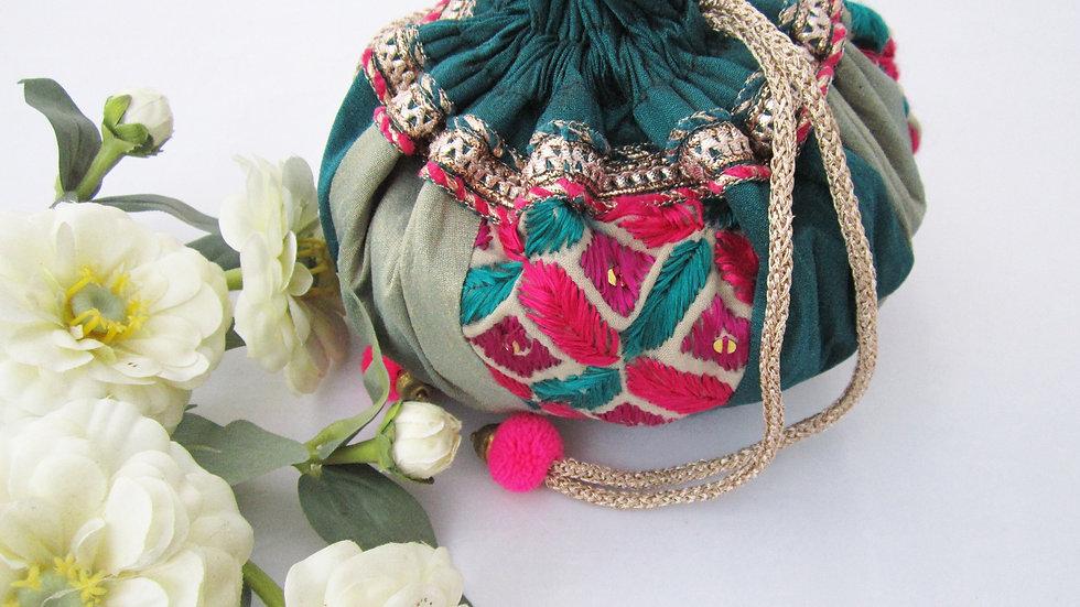 Round Teal and Mist Blue Phulkari embroidered potli