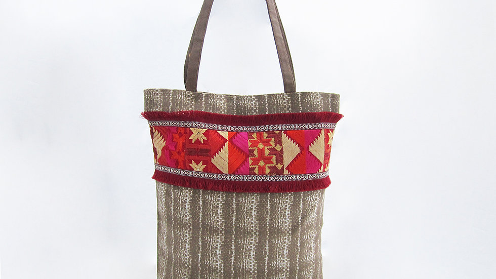 Brown Cotton Canvas Tote Bag
