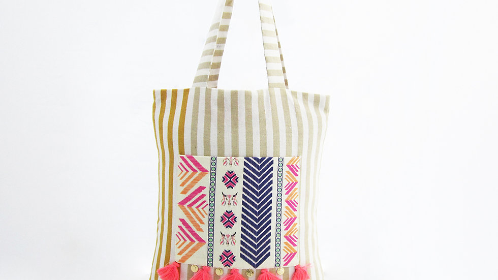 Off white and Mustard Cotton Tote Bag with Front Pocket
