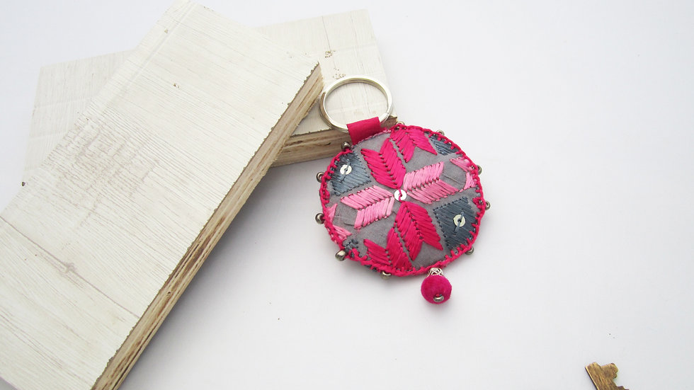 Pink and Grey Round Keychain