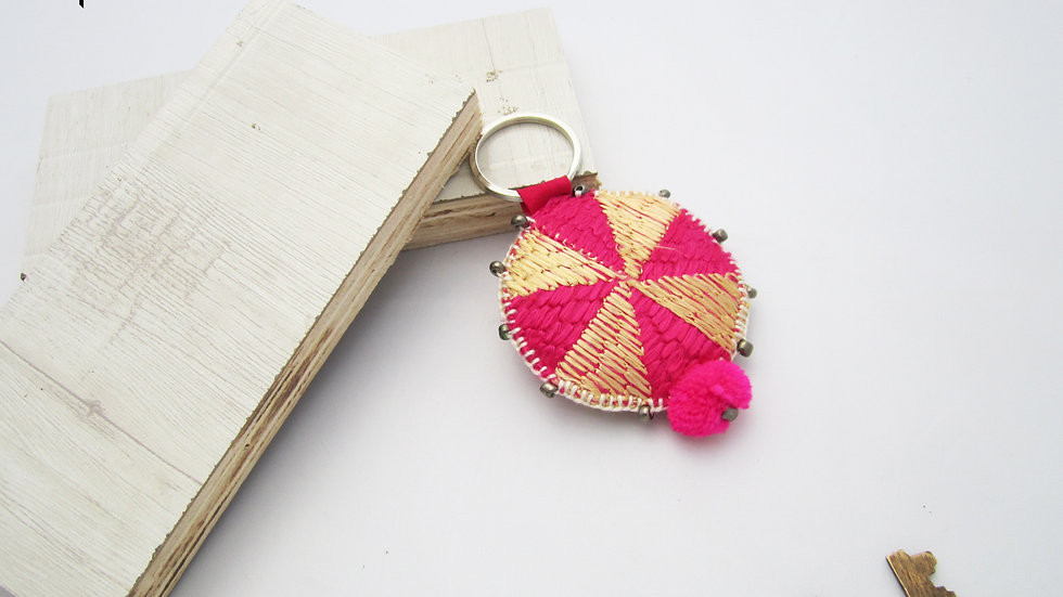 Beige and Pink Round Keychain