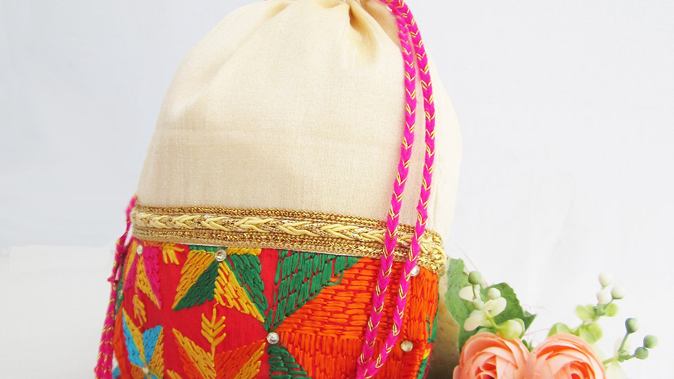 Cream and Multi colored Phulkari potli
