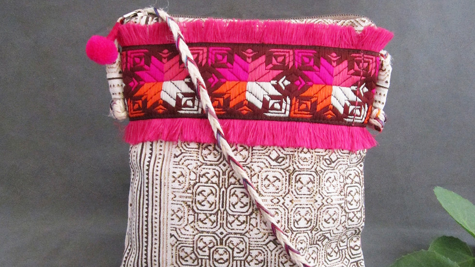 Cotton Canvas Sling Bag White+ phulkari Lace