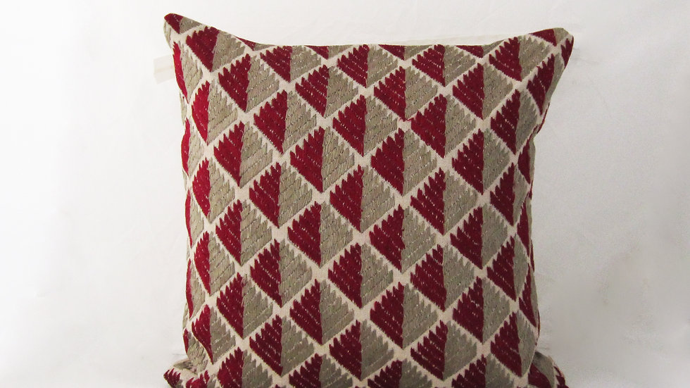 Maroon and Grey Phulkari embroidered cushion cover