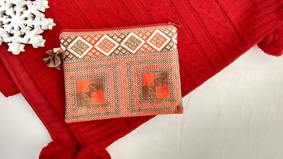 Red Brown square embroidered Pouch
