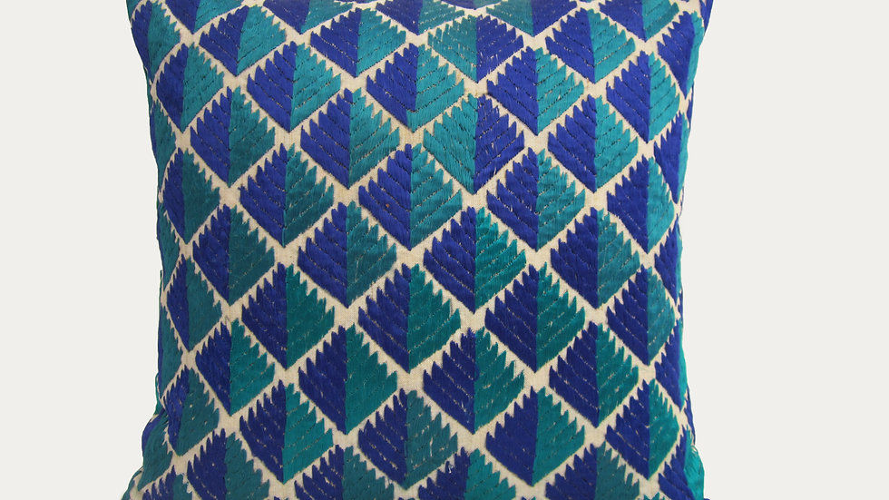 Blue and Green Phulkari embroidered cushion cover