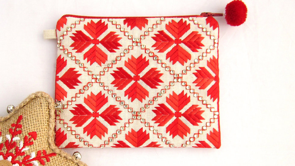 2 Toned Red embroidered coin pouch