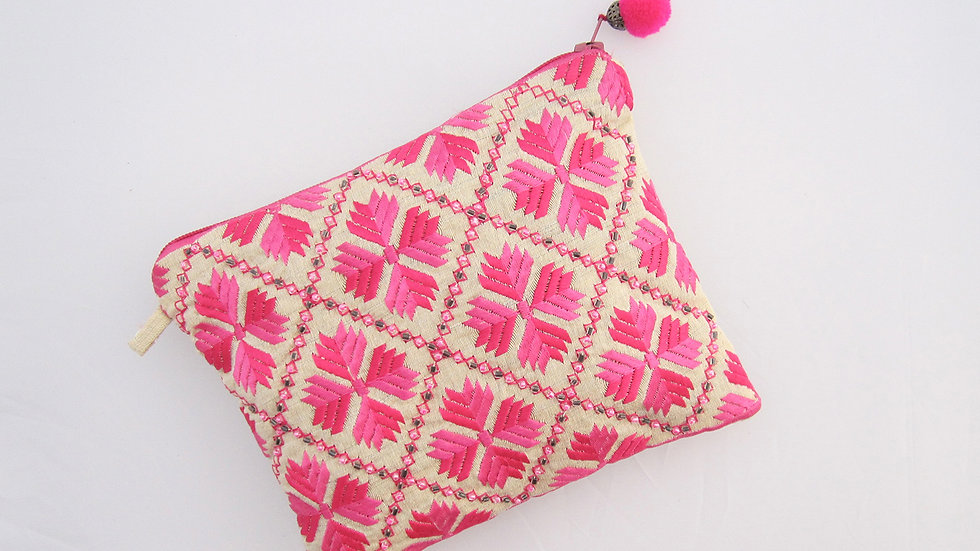 Pink 2 toned embroidered pouch