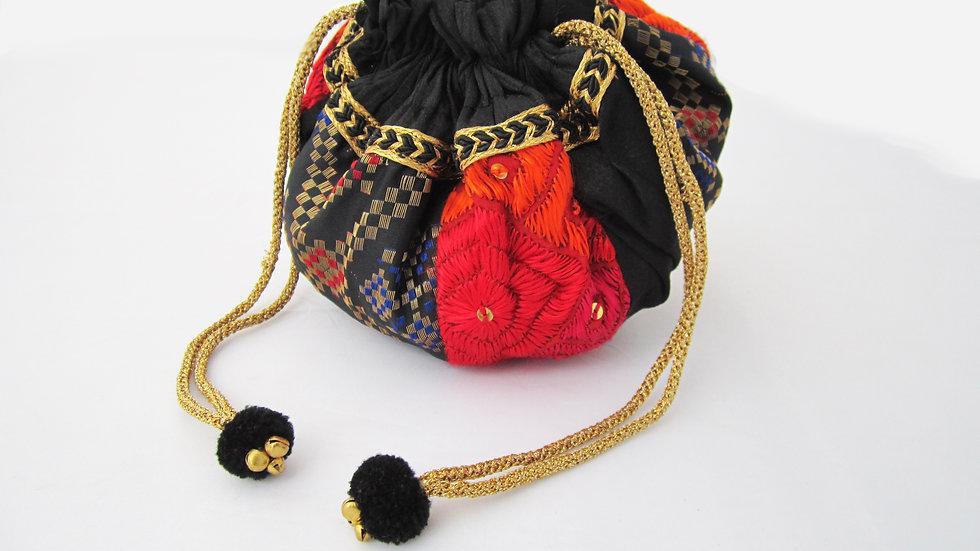 Round Black and Multi Phulkari embroidered potli