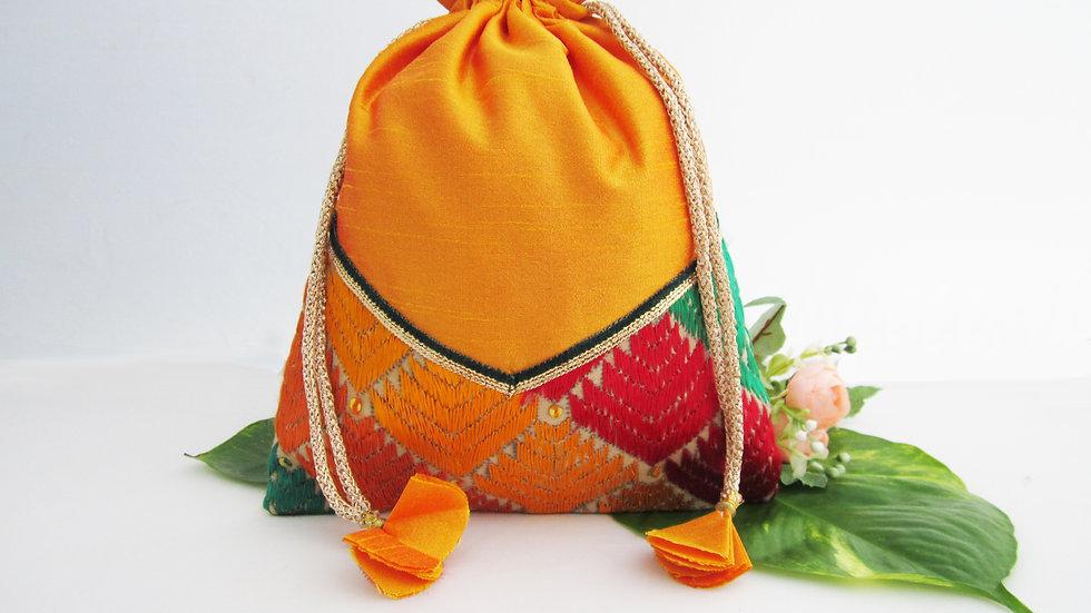 Yellow and Multi colored Phulkari potli