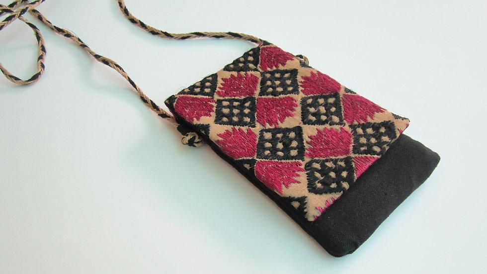 Black Phulkari embroidered Mobile sling