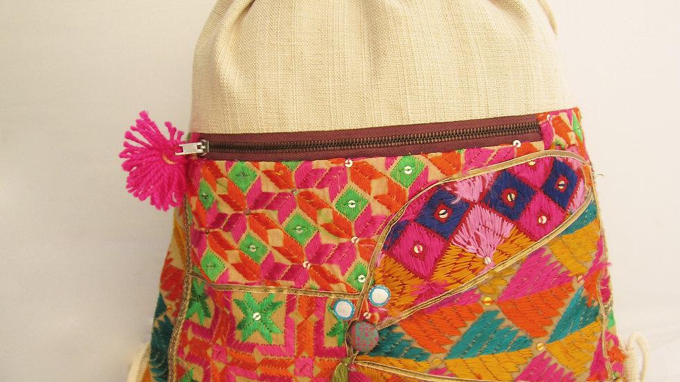 Multi upcycled Phulkari drawstring bag