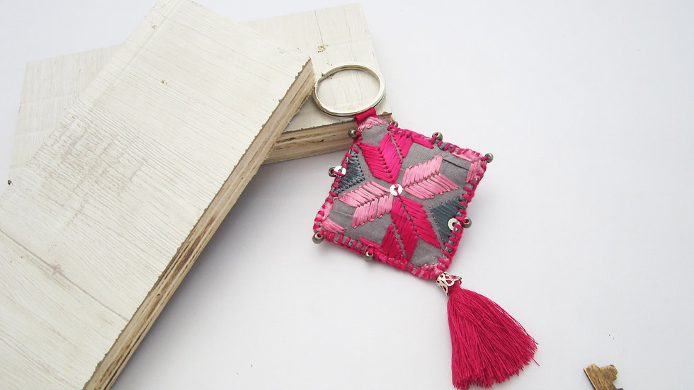 Grey and Pink Keychain
