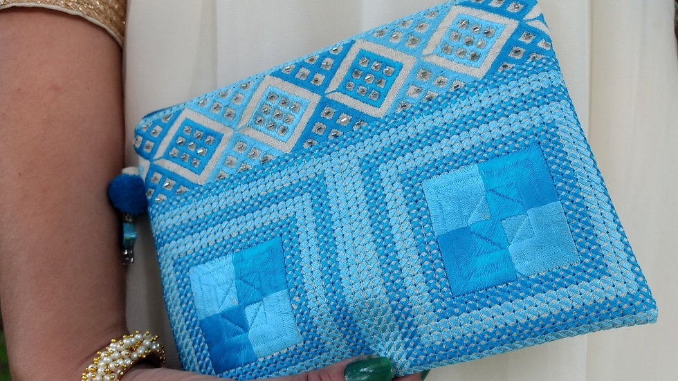 Blue square embroidered Pouch
