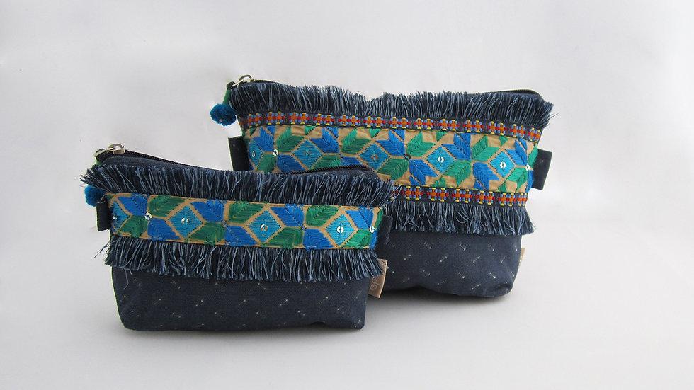 Blue Zip pouches - Set of 2