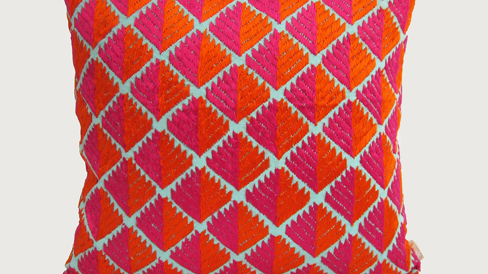 Pink and orange Phulkari embroidered cushion cover