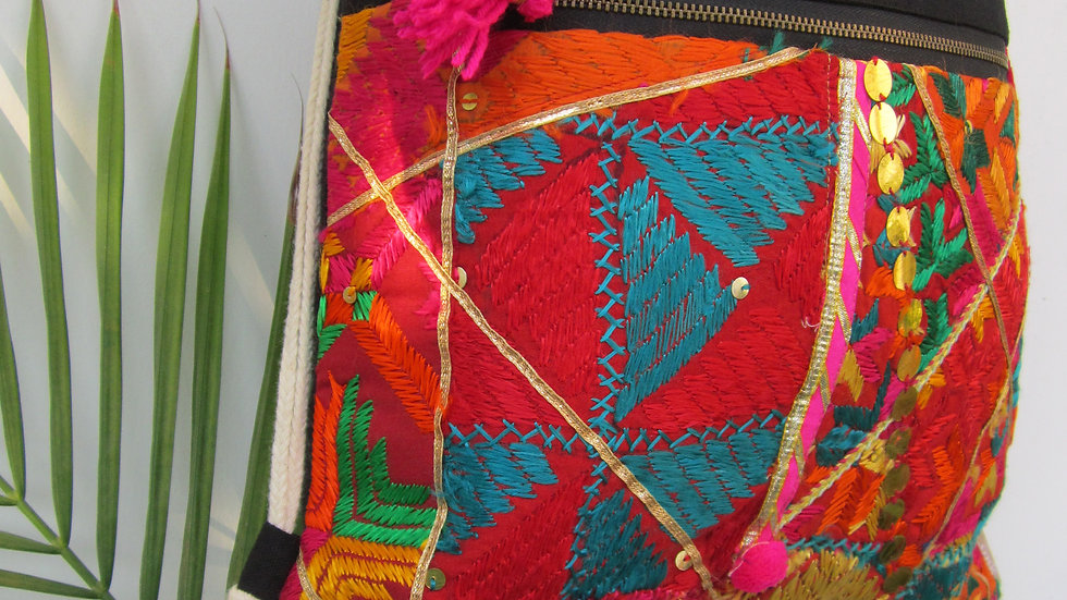 Black upcycled Phulkari drawstring bag