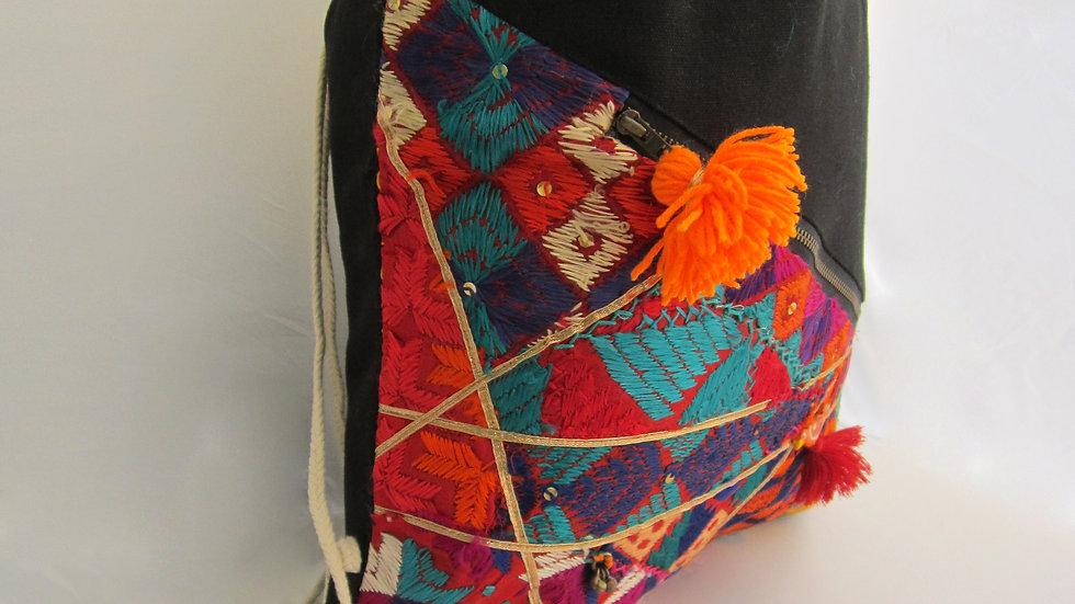 Black and Red upcycled Phulkari drawstring bag