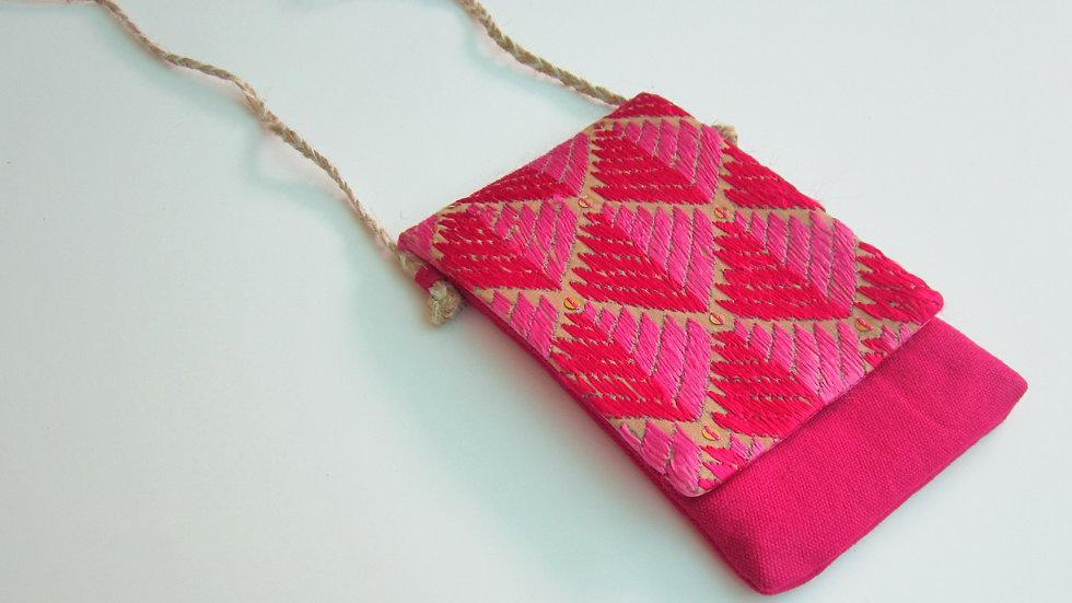 Pink Phulkari embroidered Mobile sling