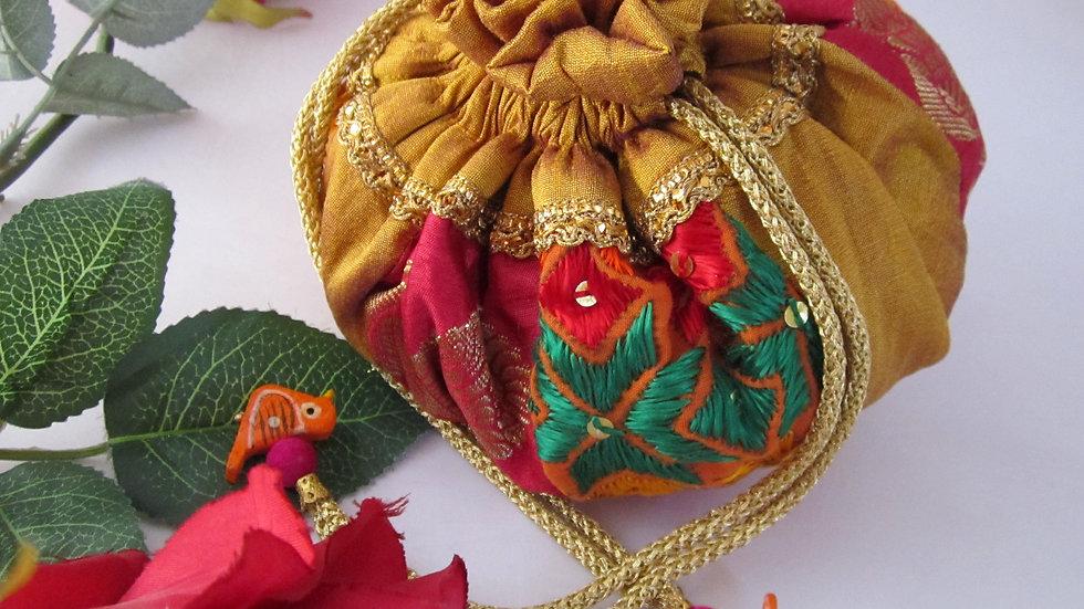 Round Gold and Multi color Phulkari embroidered potli
